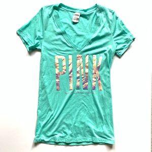 Victory Secret PINK V Neck Short Sleeve T Shirt